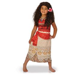 Déguisement avec perruque Vaiana 3/4 ans