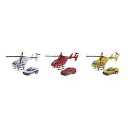 Hélicoptère et voiture miniatures