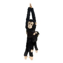 Peluche chimpanzé avec bébé suspendu 51 cm