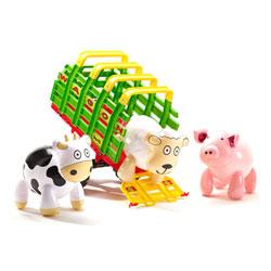 Remorque wagon et 3 animaux de la ferme