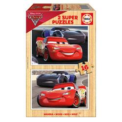 Cars 3-2 puzzles en bois de 16 pièces