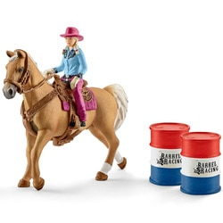 Barrel racing avec cheval et figurine de cowgirl