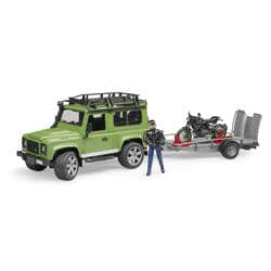 Land Rover Defender avec remorque et moto