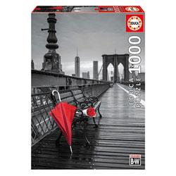 Puzzle 1000 pièces parapluie rouge Pont de Brooklyn
