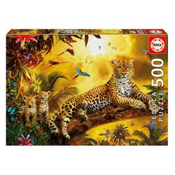 Puzzle 500 pièces léopard avec ses petits