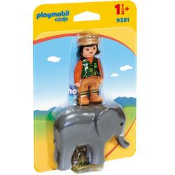 9381 - Playmobil 1.2.3 Soigneuse avec éléphanteau