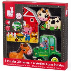 Coffret de 4 puzzles 3D en bois ferme
