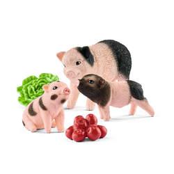 Figurines cochon nain femelle et cochonnets