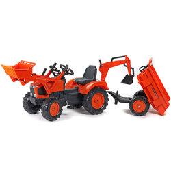 Tracteur avec excavatrice et remorque basculante
