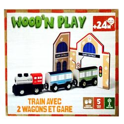 Train avec 2 wagons et gare