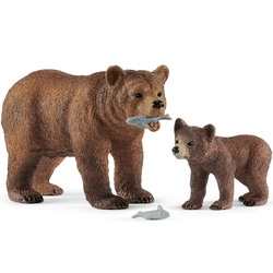 Figurines maman Grizzly avec ourson