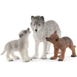 Figurines maman loup avec louveteaux