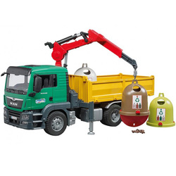 Camion de transport avec grue et 3 conteneurs à verre et bouteille