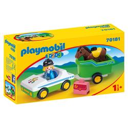 70181 - Playmobil 1.2.3 - Cavalière avec voiture et remorque