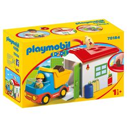 70184 - Playmobil 1.2.3 - Ouvrier avec camion et garage