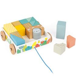Chariot de cubes en bois à promener - Pure