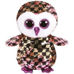 Flippables Small - Peluche sequins Checks le hibou 15 cm