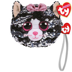 Porte monnaie peluche sequins Kiki le chat 10 cm