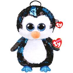 Sac à dos peluche sequins Waddles le pingouin 30 cm