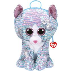 Sac à dos peluche sequins Whimsy le chat 30 cm