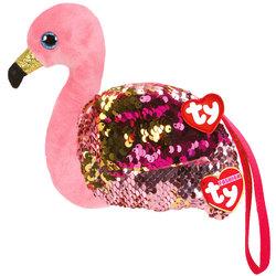 Porte monnaie peluche sequins Gilda le flamant rose 10 cm