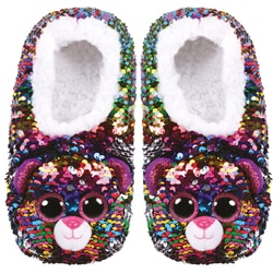 Chaussons medium taille 33 - Peluche sequins Dotty le léopard