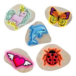 Peinture fluorescente sur pierres