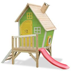 Maison en bois Fantasia 300 verte avec toboggan