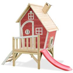 Maison en bois Fantasia 300 rouge avec toboggan