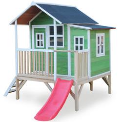 Maison en bois Loft 350 verte avec terrasse et toboggan