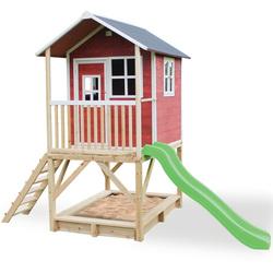Maison en bois Loft 500 rouge avec bac à sable et toboggan
