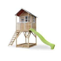 Maison en bois Loft 700 avec bac à sable et toboggan