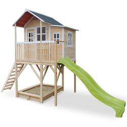 Maison en bois Loft 750 avec bac à sable et toboggan