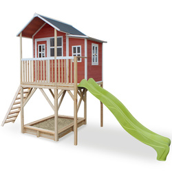 Maison en bois Loft 750 rouge avec bac à sable et toboggan