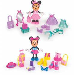 Pack 2 figurines 15 cm Minnie Fashionistas Shopping et voyage - Disney Minnie