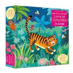 Livre et trois puzzles 9 pièces thème Jungle