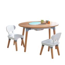 Table et 2 chaises en bois Mid-Century Kid