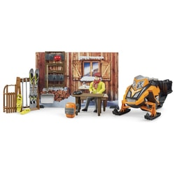 Station de montagne + figurine et motoneige miniatures