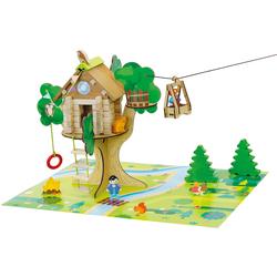 La cabane perchée et sa tyrolienne en bois 70 pièces
