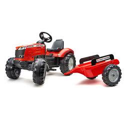 Tracteur à pédales Massey Ferguson rouge avec remorque