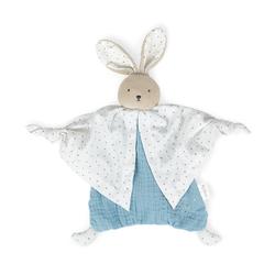 Doudou lapinou bleu en coton bio