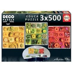 3 puzzles 500 pièces - Fruits et fleurs exotiques
