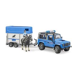 Véhicule Land Rover Police avec remorque cheval et policier