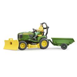 Tracteur Bworld John Deere avec remorque et figurine