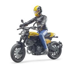 Moto Scrambler Ducati avec motard
