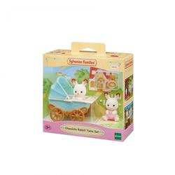 Sylvanian Families - 5432 - Les jumeaux lapin chocolat et leur poussette double