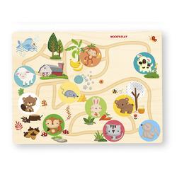 Puzzle circuit en bois avec animaux