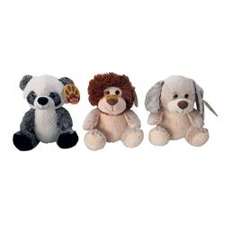 Assortiment peluches 30 cm lion, chien, panda
