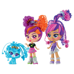 CurliGirls and Pet Twin Set - Coffret 2 poupées et 1 animal