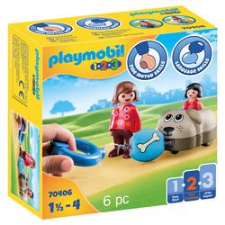 70406 - Playmobil 1.2.3 - Wagon chien